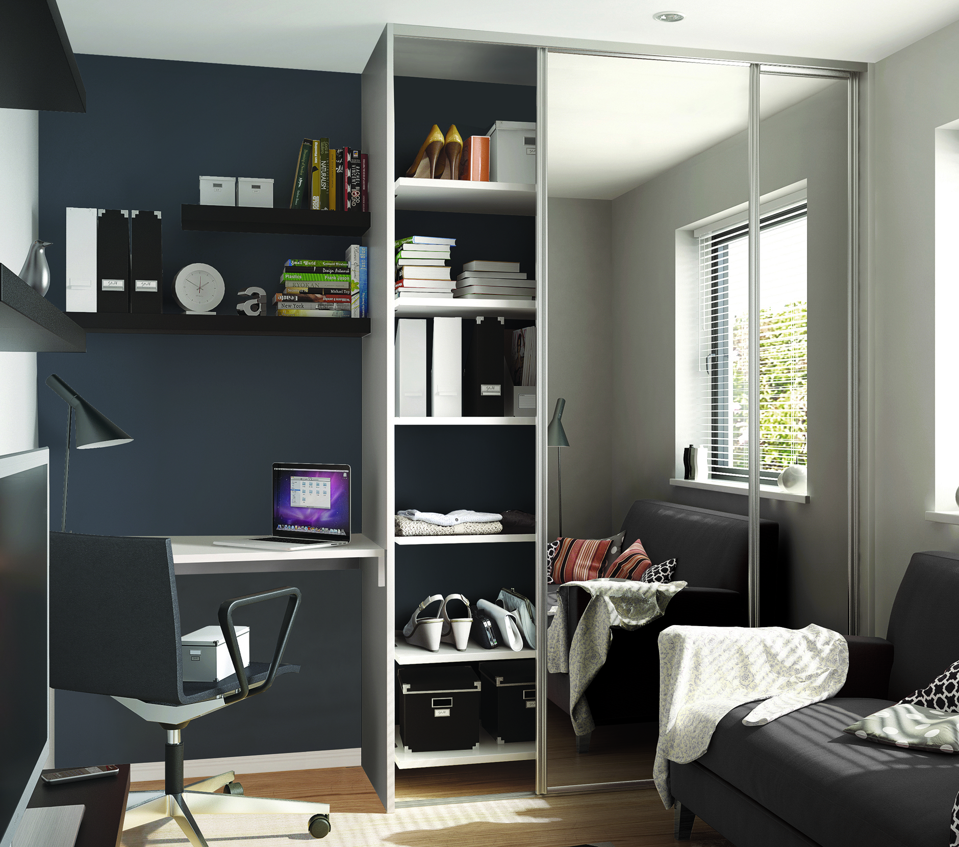 Wardrobe and desk combination