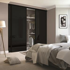 3 x 914mm Classic Black Glass, Black Framed Sliding Doors