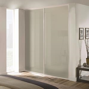 2 x 762mm Classic White Glass, White Framed Sliding Doors