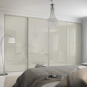 4 x 762mm Classic White Glass, White Framed Sliding Doors