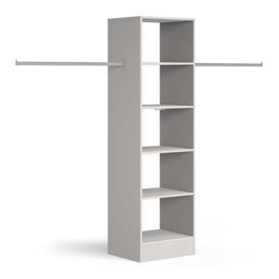 Tower unit 600mm with 5 shelves and 1 hanger bar