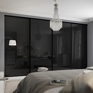 4 x 762mm Classic Black Glass, Black Framed Sliding Doors