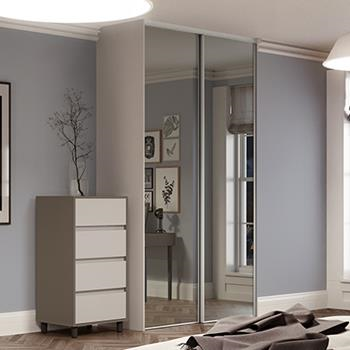 2 x 914mm Classic Mirror Panel, White Framed Sliding Doors