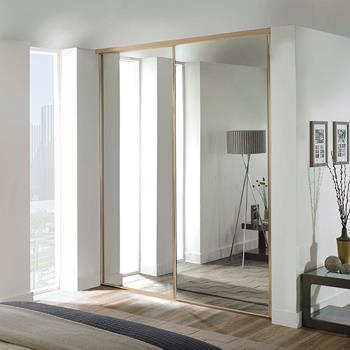 2 x 610mm Classic Mirror Panel, Maple Framed Sliding Doors