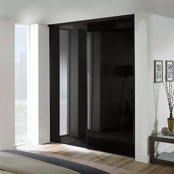 2 x 914mm Classic Black Glass, Black Framed Sliding Doors