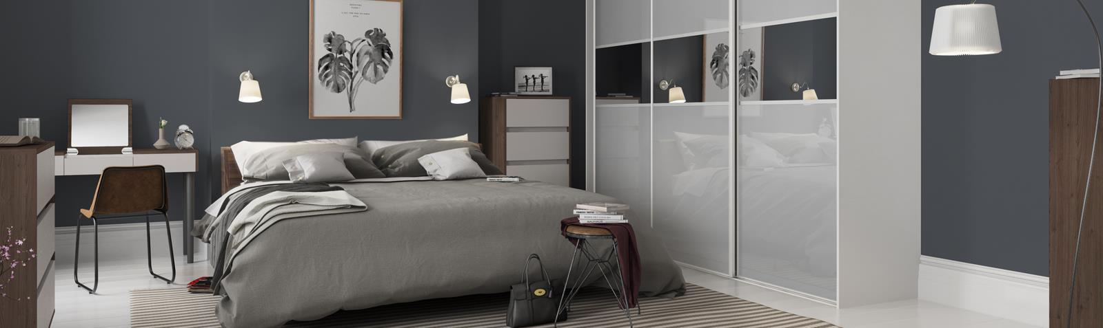 Classic 3 panel Fineline Light Grey / Grey Mirror doors with Silver frame | Spaceslide & Classic: 3 panel Fineline Light Grey / Grey Mirror doors with Silver ...