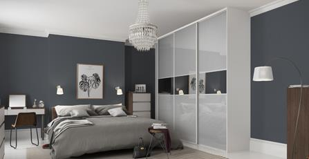 Classic 3 Panel Fineline Light Grey Mirror Doors With Silver Frame