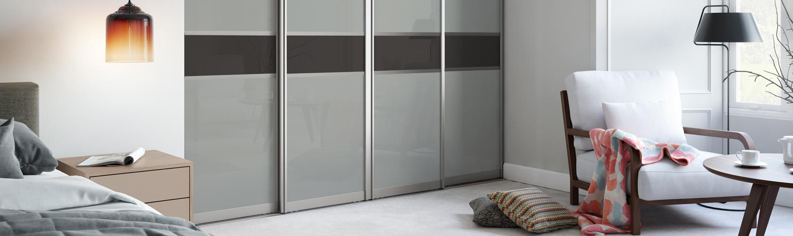 Signature 3 panel Fineline Light Grey glass / Dark Grey glass doors with Titanium frame | Spaceslide & Signature: 3 panel Fineline Light Grey glass / Dark Grey glass doors ...