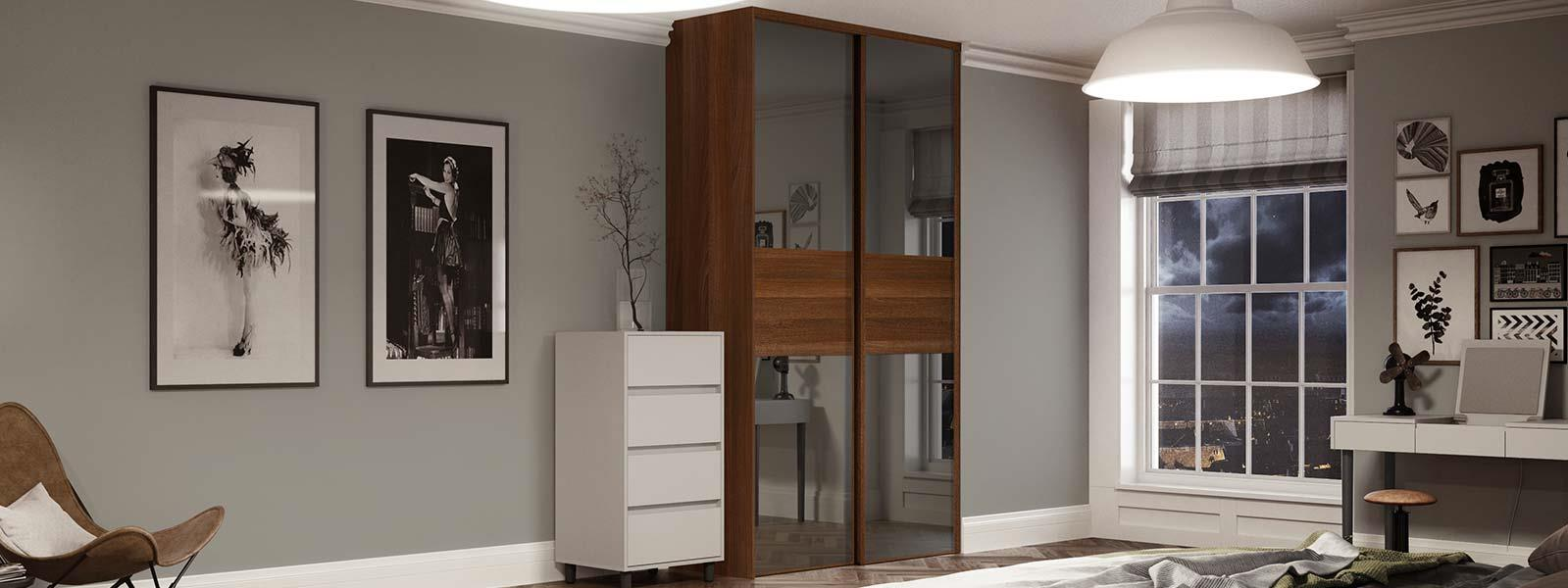 Classic 3 panel Fineline Grey Mirror / Walnut doors with matching Tower Unit interior | Spaceslide & Classic: 3 panel Fineline Grey Mirror / Walnut doors with matching ...