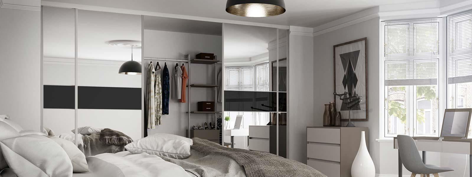 Silver And Black Bedroom Bespoke Built In Wardrobes Custom Sliding Wardrobes Spaceslide