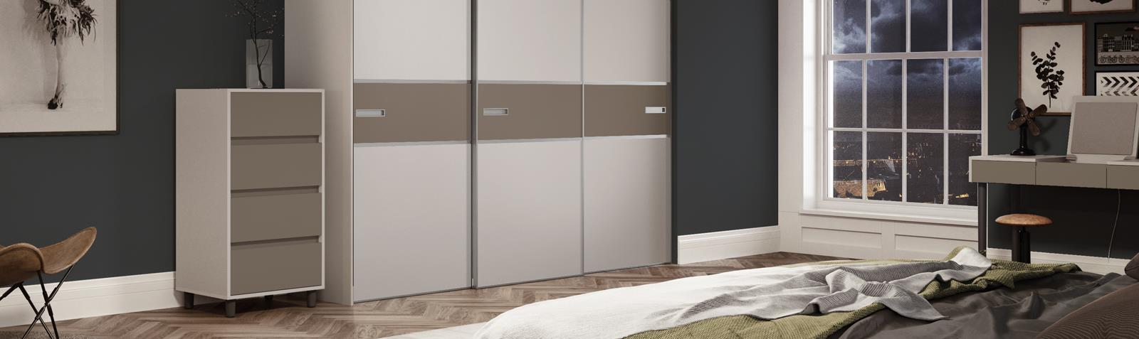 Premium Mini 3 panel Fineline Stone Grey / Satin Cashmere doors with Polished Silver frame | Spaceslide & Premium Mini: 3 panel Fineline Stone Grey / Satin Cashmere doors ...