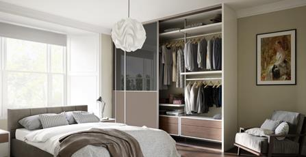 fitted bedrooms uk. Delighful Bedrooms Deluxe Shaker 3 Panel Dark Grey Mirror  Satin Stone Doors With  Cashmere Frame Throughout Fitted Bedrooms Uk R
