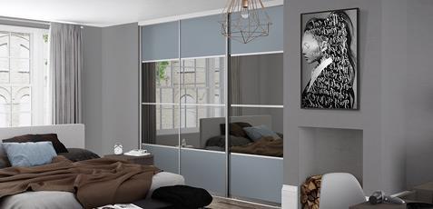 Premium Midi: 4 Panel Denim / Grey Mirror Doors Part 90