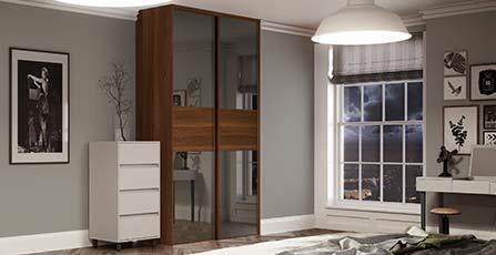 Classic 3 panel Fineline Grey Mirror / Walnut doors with matching Tower Unit interior & Classic Sliding Doors | Spaceslide