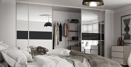 Classic 3 panel Fineline Silver Mirror / Black glass doors with silver frame & Classic Sliding Doors | Spaceslide